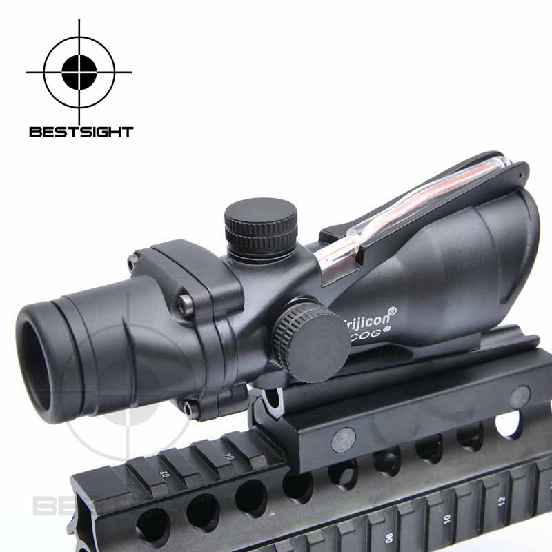Trijicon ACOG 4X32 Reticle Fiber Sight Red dot Scope Black Color Tactical Riflescope Hunting Scope trijicon acog 4x32 red dot sight scope tactical hunting scopes real green red fiber riflescope optics for rifles