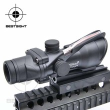 Trijicon acog 4×32 fibra reticle color tactical telescópica alcance de la caza sight red dot scope negro