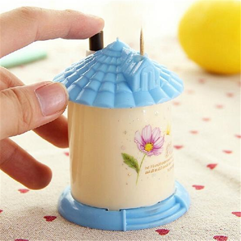 Sweet House Automatic Toothpick Holder Container Household Table Toothpick Storage Box Toothpick Dispenser Random Color