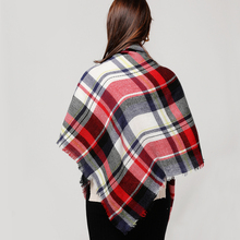 Women's Knitted Plaid Warm Scarf