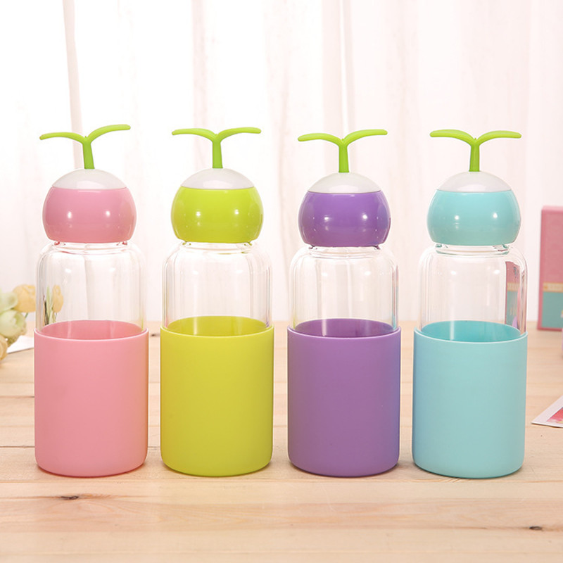 Cute sprouts glass water bottle outdoor travel portable creative silicone student couple gift