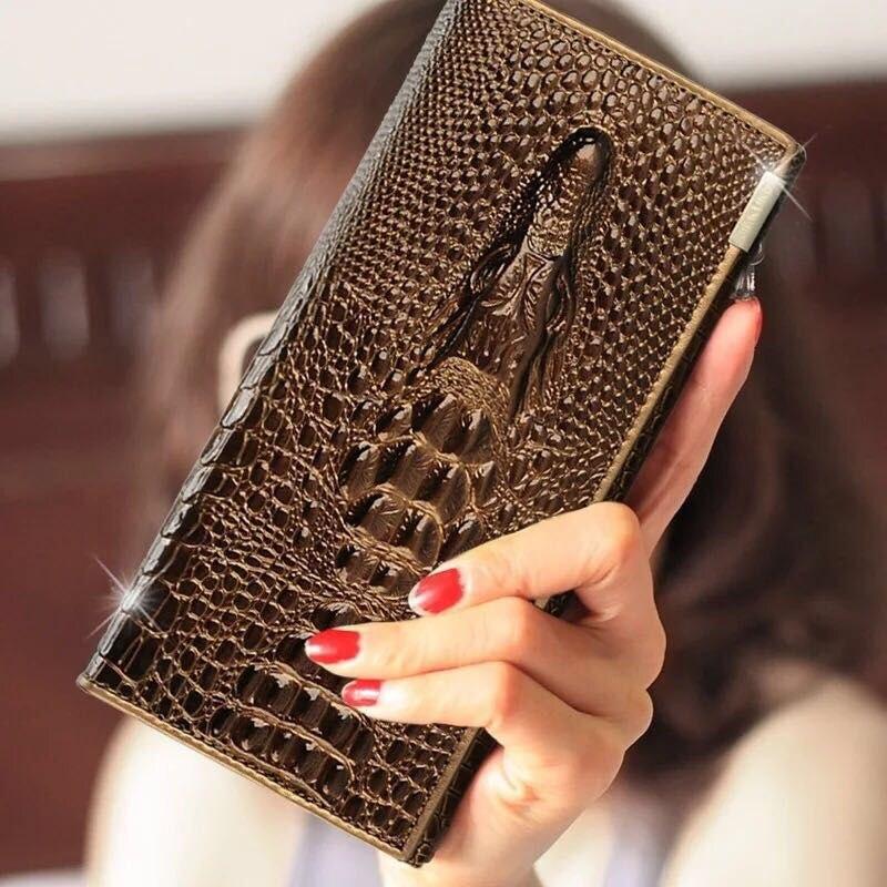 Mulheres da Moda Marca de Couro Novas Genuíno Carteira Ferrolho Coin Bolsas Titulares 3d Embossing Senhoras Crocodilo Jacaré Longo Embreagem Parede
