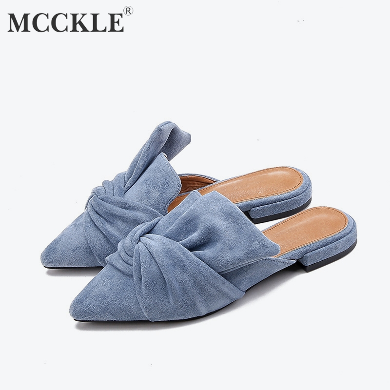 MCCKLE Women Slippers Flock Bowtie Female Mules Fashion Low Heels Shoes Pointed Toe Ladies Plus Size Elegant Woman Slipper(China)