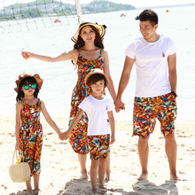 Mom Daughter Bohemian Floral Sling Dress and Shawl Set Dad Son White T-shirt Wide Leg Shorts Family Beach Outfits