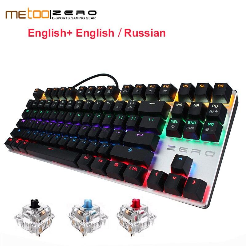 English/Russian Gaming Keyboard Metal 87/104 keys Blue/Black/Red Switch Mechanical Keyboard Wired USB Keyboards RGB LED Backlit genius k7 usb wired blue red led backlit 104 key keyboard