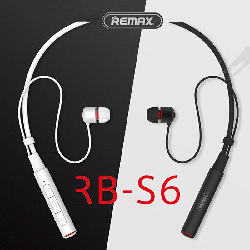 Remax S6 Bluetooth 4.1 Sports Neckband Bluetooth Headset Wireless Stereo Earphone Music Headphone HD Mic Multi Connections original remax 300hb bluetooth v4 1 headphone headset touch control wireless stereo earphone music hd microphone for iphones