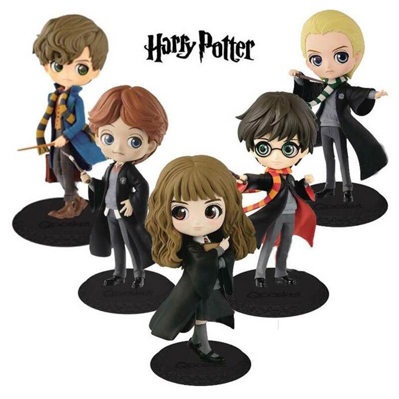 QPosket Mignon Grands yeux Harry Potter Ron Weasley Hermione Granger Draco Malfoy Newt Scamander Vinyl Figure Modèle Jouets 15 cm