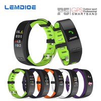 LEMDIOE P5 GPS Sports Smart Band Heart Rate Smart Wristband Temperature Altitude theromometer Fitness Tracker Smart Bracelet