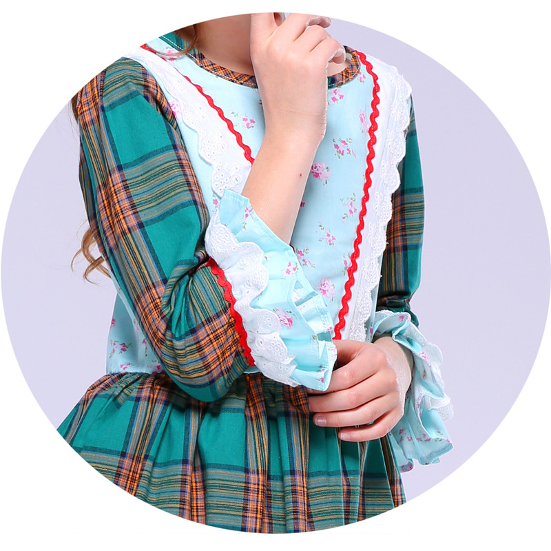65444f175cf Chaffare Girls Plaid Dress Lace Flower Vintage Kids Dresses Tartan Fashion  Summer Frocks for Princess Green Baby Girl Clothing-in Dresses from Mother    Kids ...