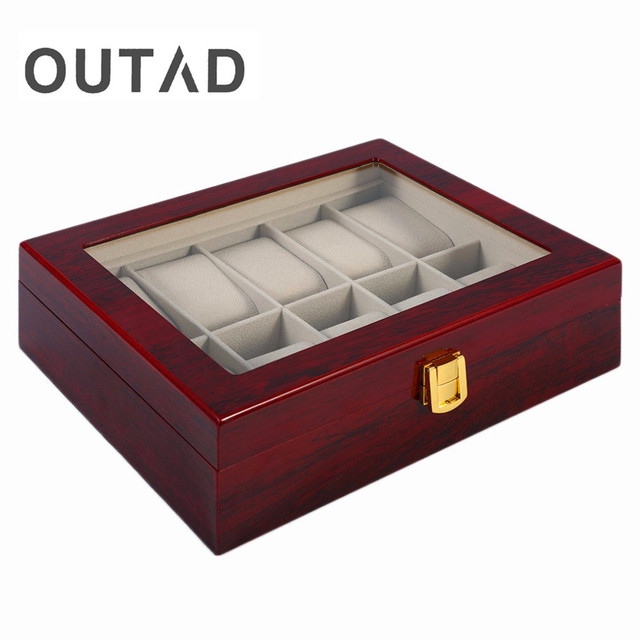 2017 New Luxury 10 Grids Solid Red Wooden Watch Box Jewelry Display Organizer Ca