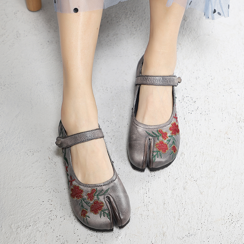 Handmade Shoes Woman Special Embroider Elegant Flower Lady Flats Retro Comfort Female Genuine Leather Flat Shoes