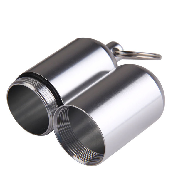 Aluminum Pill Bottle key Chain Waterproof Travelling Gallipot Cases Keychain Portable Medication Box Case Drug Holder Key Rings