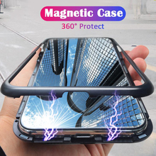 360 Protect Magnetic Phone Case For Samsung Galaxy A50 6.4 inch Cover Luxury Metal Bumper Tempered Glass Back Shell  Coque