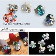 New 10pcs Luxury Japanese nail jewelry decoration alloy heap rhinestones pearls 3d nail art charm nail metal glitter accessories