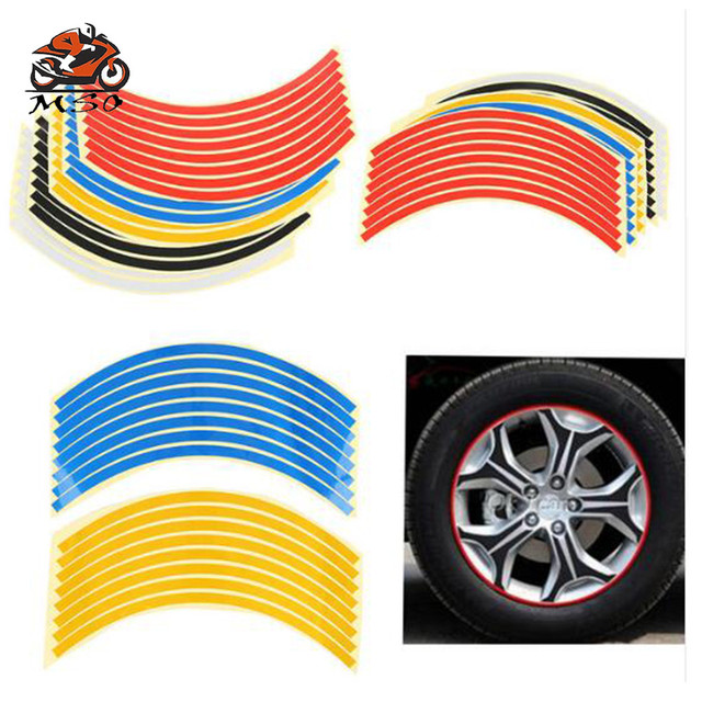 Universal 16pcs Bicycle reflector Fluorescent MTB Moto Bicycle Sticker Cycling Wheel Rim Reflective Sticker Decal Car Accessory
