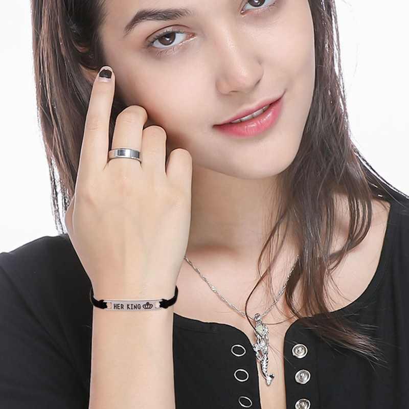 2 estilos su Reina su rey negro clásico tejido amante pulsera aleación pareja pulsera regalo joyería de moda Accesorios