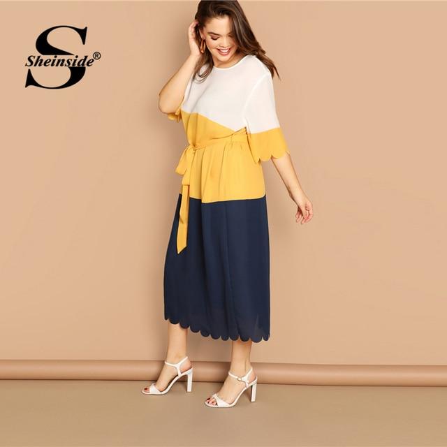Sheinside Plus Size Scallop Trim Patchwork Dress Women 2019 Spring Elegant Belted Midi Dresses Casual Half Sleeve Straight Dress 2