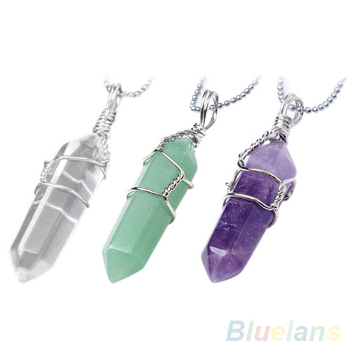 Women Female Chic Natural Crystal Quartz Healing Point Chakra Bead Stone Pendant For Necklace  1LC8