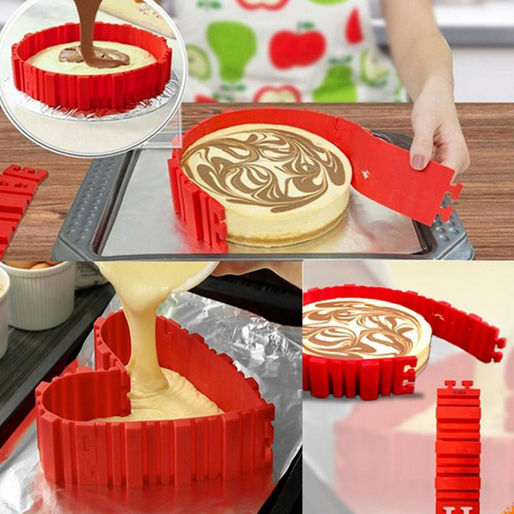 4 Pcs Silicone Bakeware Set in Square Rectangular Round and Heart Shape for Baking Cakes and Pastries in Microwave Oven of Home Kitchen 5