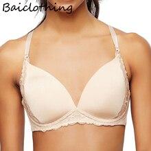 BAICLOTHING Comfortable Womens Big Size Underwear 3/4 Cup Lace Edge Deep V Seamless Bra 32 34 36 38 40 B C D DD DDD F G Black