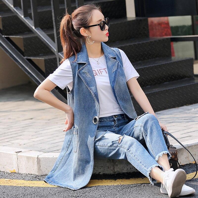 US $22.29 |Plus Größe S 3XL 2017 Sommer Herbst Jacke Ärmellos Strickjacke Damen Jeans Westen Langen Jeansweste Frauen Lässige Streetwear in Plus Größe