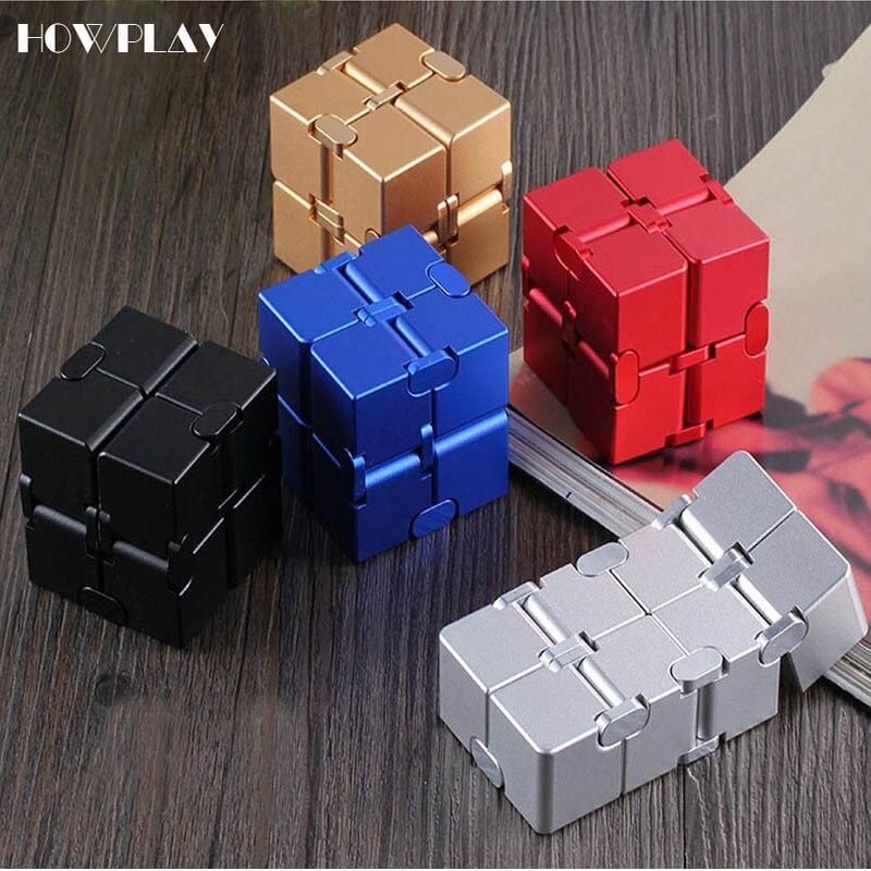 Howplay agitarsi spinner Infinity metallo cubo magico cubo di decompressione agitarsi cubo adulti finger toy ufficio regalo di vibrazione Cubic relax