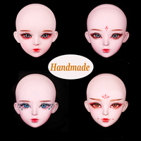 Handmade Make up Bjd Doll's Head with 3d Eyes for Bjd 1/3 Dolls Original Girls Heads for 1/3 Doll Girl Toys Dolls Accessories