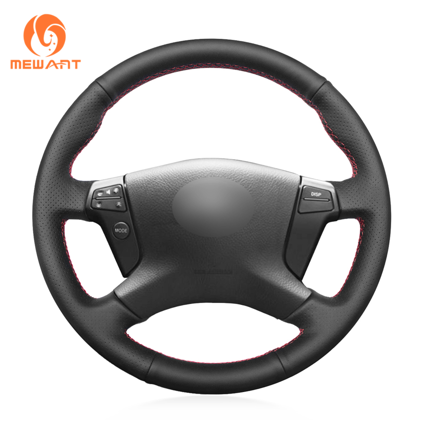 MEWANT Black Genuine Leather Car Steering Wheel Cover for Toyota Avensis 2003-2007 стоимость