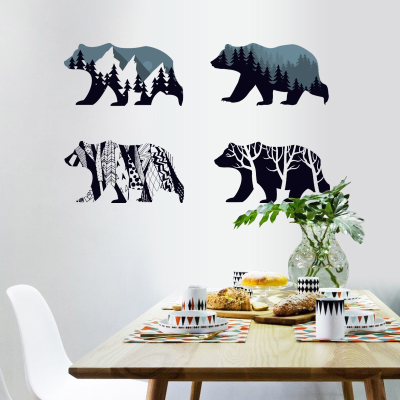 [Fundecor] 4 Polar bear Silhouette Wall Stickers Home Decoration Living Room Children bedroom kids Rooms Vinyl Furniture Decals