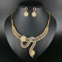 NEW fashion exquisite elegant crystal flower AAA zircon golden necklace earring set,wedding bride party dress dinner jewelry set
