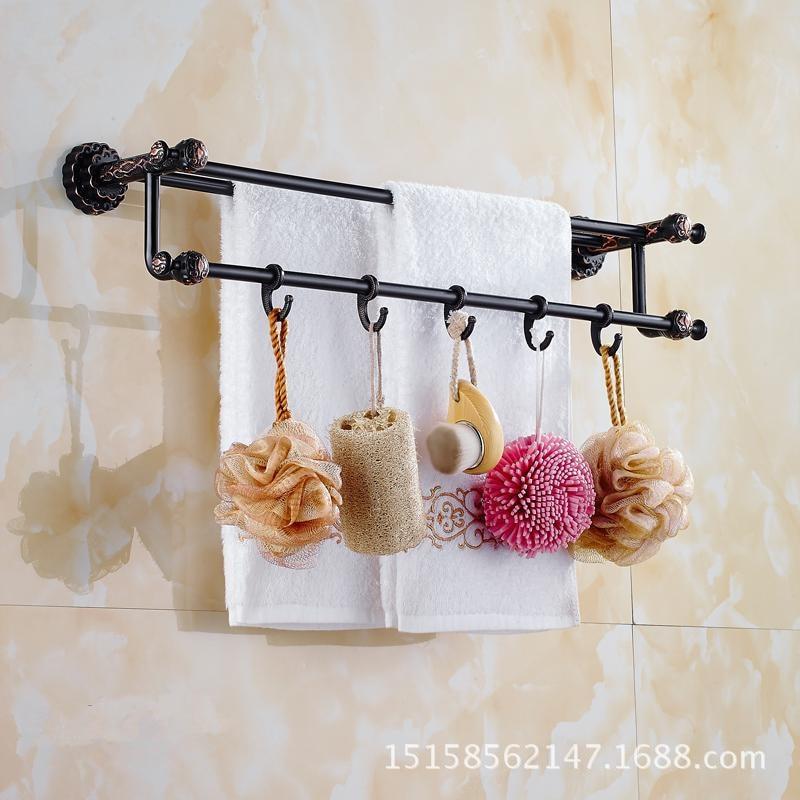 All copper black bronze double towel rack Antique bathroom towel rack rack European bathroom towel hanging rodAll copper black bronze double towel rack Antique bathroom towel rack rack European bathroom towel hanging rod