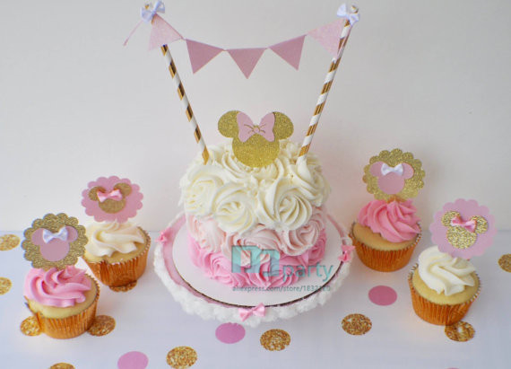 1set Minnie Mini CAKE Bunting Flag Banner And Party Hat Set First Birthday Baby Cake Smash