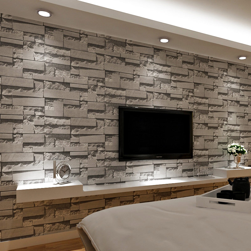 US $22.97 33% OFF|3D Ziegel Wand Stein Tapete Moderne Vintage Wohnzimmer TV  Sofa Hintergrund Wand Abdeckt Grau Ziegel Wand Papiere Papel De parede-in  ...