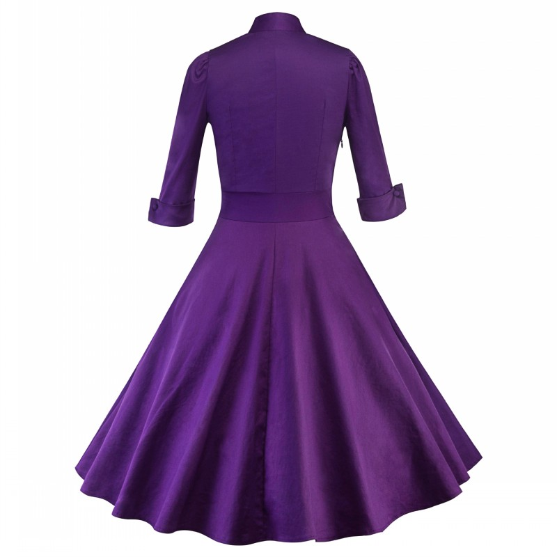 9057281253_274015360_conew1  2018 Ladies Clothes Pin UP Vestidos Spring Autumn Retro Informal Celebration Gown Rockabilly Gown 50s 60s Classic Midi Attire HTB16lc8zY1YBuNjSszeq6yblFXaM