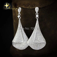 100% 925 Sterling Silber AAAA Kristall CZ Luxuriöse Piercing Ohrstecker für Frauen Modeschmuck RetailHEH61005