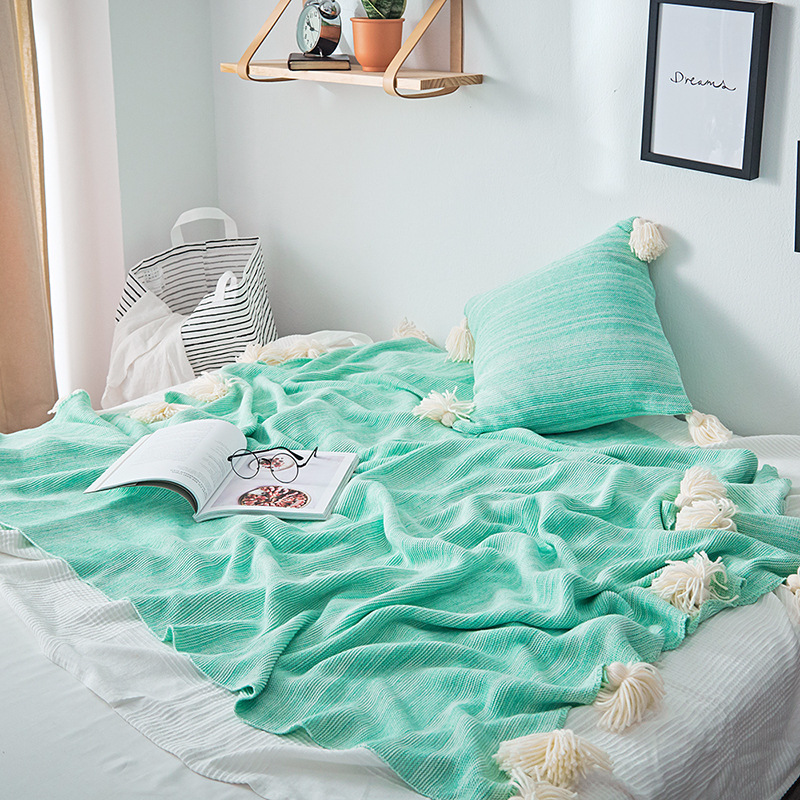 High Quality Cotton Knitted Blanket Bed Sofa Office Decorative Throw  Blanket Multi Use Geometric Nap Cushion Blanket