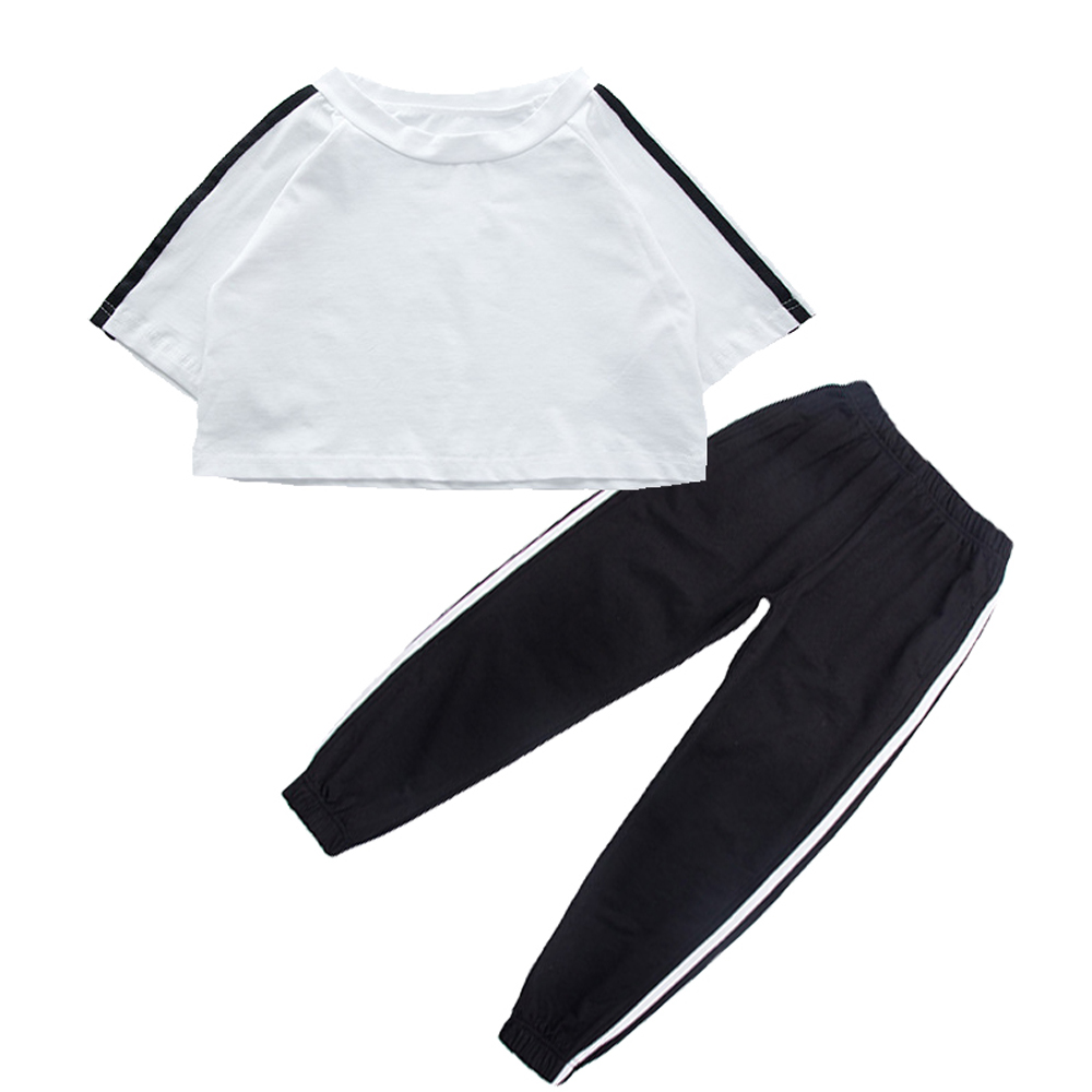 Spring Autumn Girls Wears Brief Strip Hip Hop Clothing Suit Jazz Dance Shirt Pants Stage Perform Costumes For Pupil Hiphop Cloth