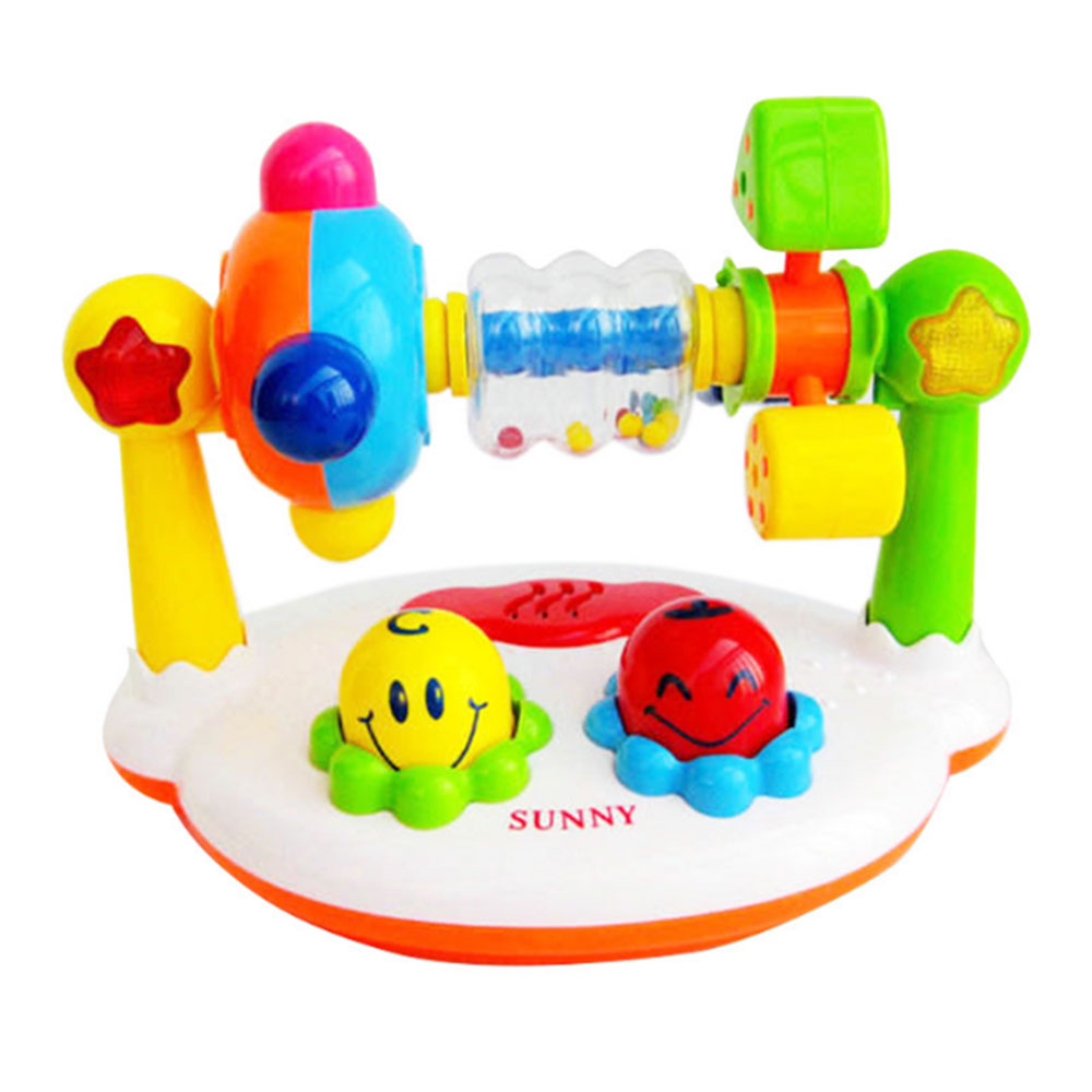 Baby Musical Toys Cartoon Music Kingdom Rattle Ring Bell 360 degree rotation with Music and Light Baby Toys For Children