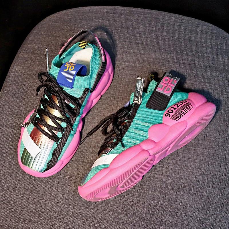 Women Platform 4 Cm Thick Sole Ladies Casual Vulcanize Shoes Web Celebrity Dad Female Fashion Designer Sock Sneaker Women