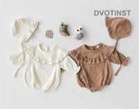 Dvotinst Newborn Baby Girl Clothes Lotus Leaf Collar Cotton Bodysuit+Hat Outfits Set Leotard Toddler Jumpsuit Clothing Costume