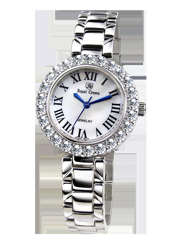 Royal Crown Jewelry Watch 6305S Italy brand Diamond Japan MIYOTA platinum Fine Fashion Dress Steel Bracelet Luxury Rhinestones