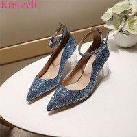 Новинка 2019, синие туфли на высоком каблуке с блестками и прозрачными кристаллами, женские вечерние туфли из лакированной кожи с острым носк