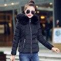 2016 Women Jackets Coats Solid Slim Thick Large Fur Collar Hood Short Parkas Jacket Winter Women Coat Plus Size Down & Parkas