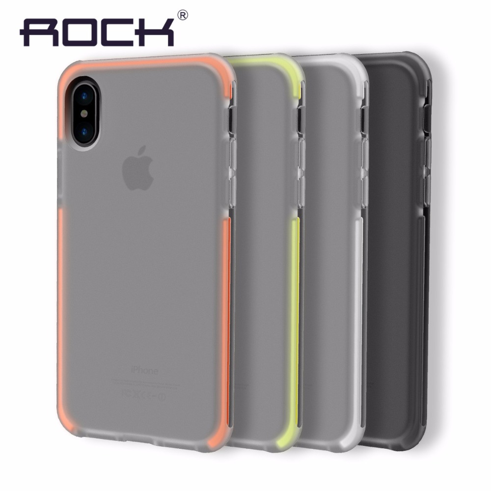 Original Rock For iPhone 8 Case Cover Elastic Soft TPU + Flexible TPE Hybrid Case for iPhone8 Cover Shockproof Protective Shield iphone