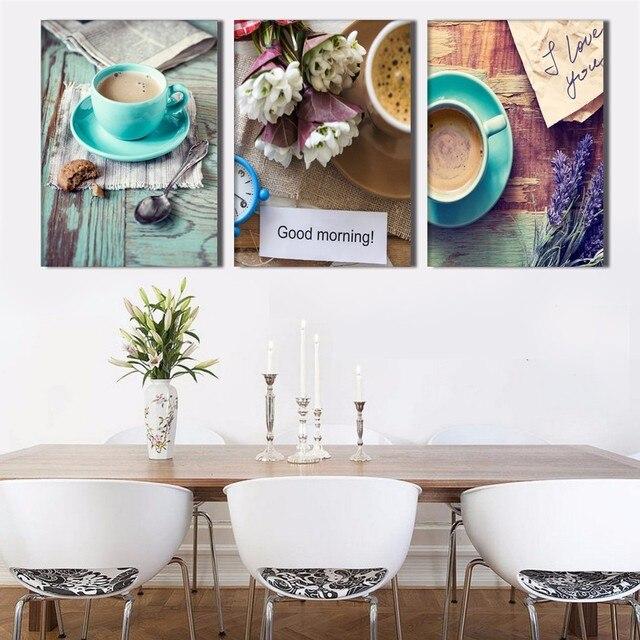 3 Panel Kaffeetassen Stillleben Moderne Wandbilder Küche Wandkunst ...