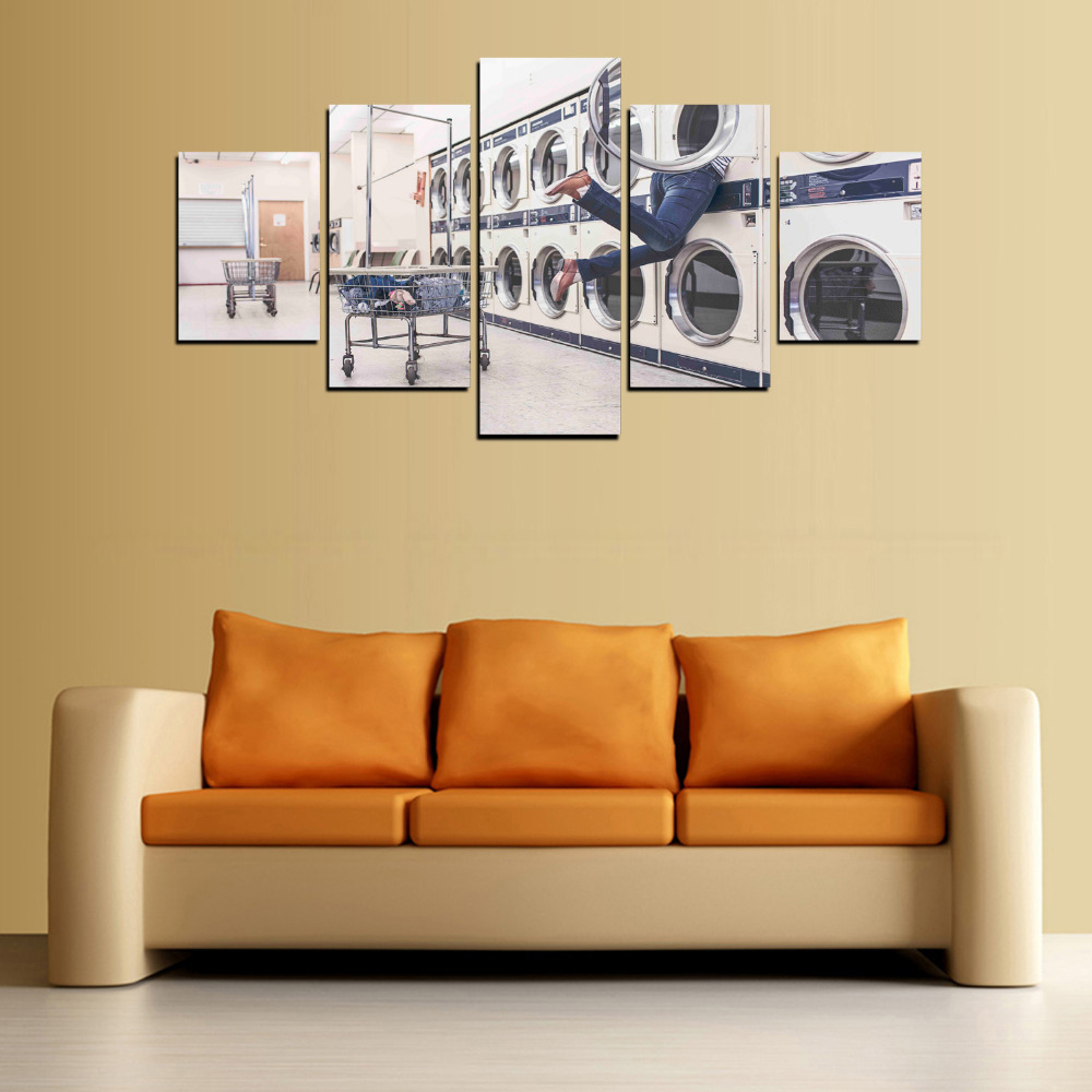 5 Panels laundry room Canvas Prints for Living Room Wall Art Picture ...