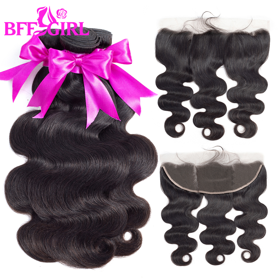 BFF GIRL Brazilian Body Wave Bundles With Frontal 100% Human Hair Bundles With Frontal Non Remy Hair 3 Bundles With 13*4 Closure
