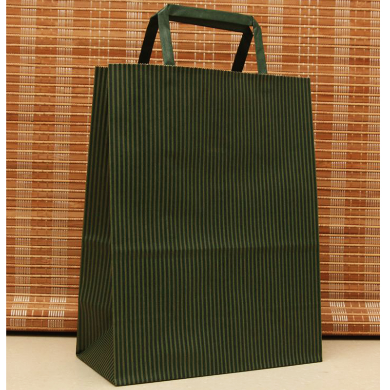 High Quantity Dark Green Stripe Festival Shopping Bags Paper Bag With Handles 27x21x11cm 10pcs Paper Gift Bag With Handle H0201