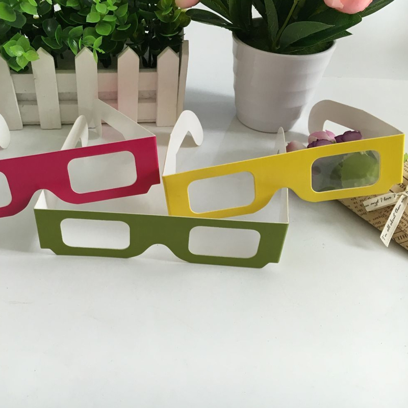 1000pcs / Lot Lowest Price Paper Frame Diffraction Glasses Fireworks 3d Party Glasse Clear Lens