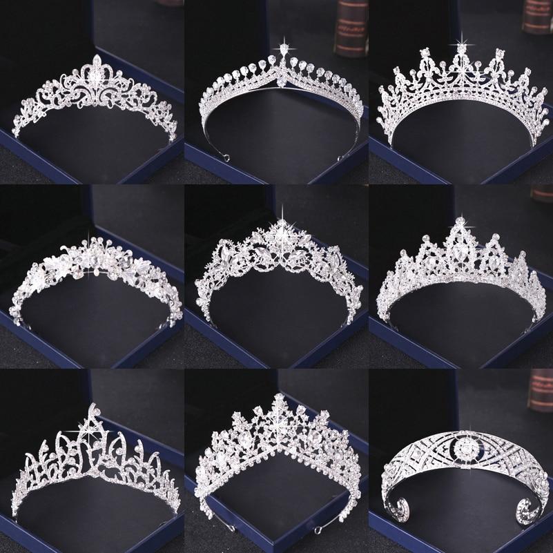 Kristall Strass Hochzeit Crown Silber Braut Tiaras und Krone Kopfschmuck Haar Zubehör Für Frauen Hochzeit Braut Kopfstück
